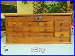 Layette d'Horloger meuble de métier ancien coffret à tiroirs boite bijoux bois