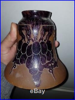 Le verre français, tulipe pâte de verre dégagé à l'acide, idem Schneider charder