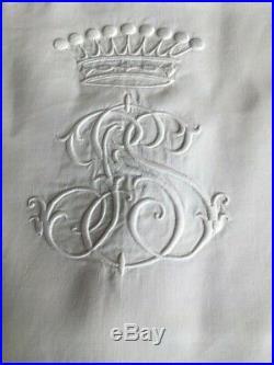 Linge Ancien Beau drap en fil de lin brodé d'une couronne comtale (2m40x3m20)
