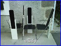 Lot 4 chaises design 80 / 90 style memphis bois chrome tole perforée chair