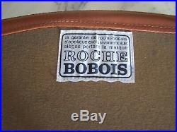 Lot De 6 Chaises Roche & Bobois En Cuir Fauve Vintage Annees 1970