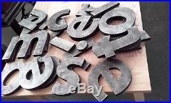 Lot de lettre enseigne patine métal