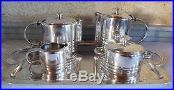 Luc Lanel Christofle métal argenté ébène service thé café 5 pièces art déco