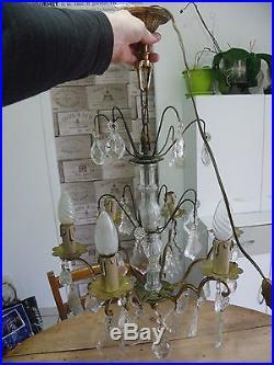 Lustre A Pampilles Ancien 6 Bougies En Bois Colonne En Verre