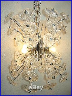 Lustre Ancien Design Avec 48 Coupelles En Verre 1970 / Old Chandelier
