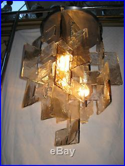 Lustre Ancien Mazzega Designer Carlo Nason Murano Italy-interlocking Glass C