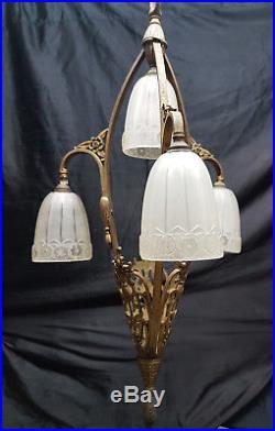 Lustre Art Deco Circa 1925 En Bronze 4 Lumieres