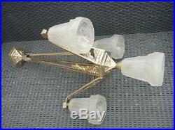 Lustre Art Deco Degue Monture Bronze Nickele A 4 Tulipes Lampe Plafonnier 1930