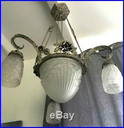 Lustre Art Deco Lampe 1930 Tulipe Vasque Obus Schneider Degue Maynadier Muller