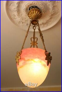 Lustre Art Deco Suspension Bronze Pate De Verre Muller