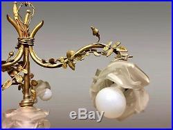 Lustre Art-Nouveau bronze doré