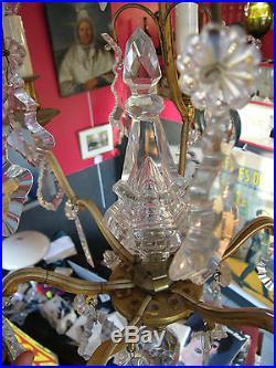 Lustre Cage en Bronze Doré à Pampilles Cristal Poignard 75 cm