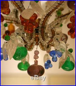 Lustre De Forme Cage Decor De Pampilles De Fruit 3 Bras De Lumieres