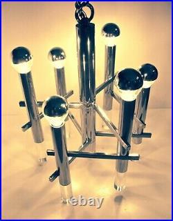 Lustre Gaetano Sciolari 6 feux avec cabochons de plexiglass Design 70