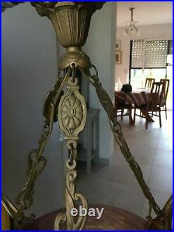Lustre Pate De Verre Art Nouveau Art Deco Monture Bronze