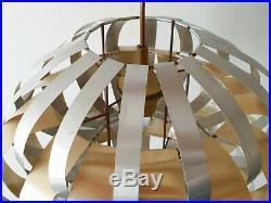 Lustre Suspension Max Sauze 1970 Vintage Aluminium Brosse & Dore 70s 70's
