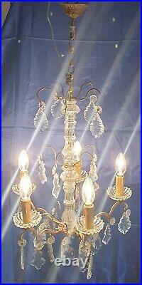 Lustre Suspension Pampilles Cristal Où Verre En Bronze Où Laiton 5 Lumières
