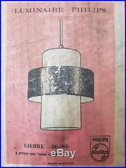 Lustre Suspension Philips Louis Kalff 60s 60's En Verre & Tole Vintage 1960
