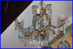 Lustre à Pampilles Opalines bleues 1950 Blue Opaline drop Chandelier