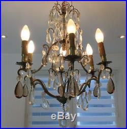 Lustre (art nouveau) à pampilles 6 branches Bronze, laiton, verre ou cristal