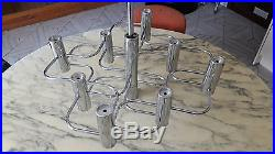 Lustre chromé suspension 9 feux (lampes) SCIOLARI vintage années 60 70 Knoll