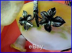 Lustre époque Art-Déco coupe et 3 tulipes signées Degué monture en fer forgé