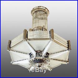Lustre moderniste signé AP pour Albert Petitot 1938 Art deco chandelier