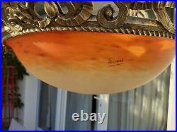 Lustre pâte de verre schneider bronze