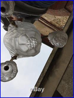 Lustre pate de verre suspension 1930 Art déco signé Degué