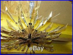 Lustre plafonier MAISON CHARLES métal doré et cristal des années 60s70svintage