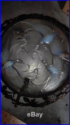 Lustre plafonnier art deco verre opalescent VERLYS oiseaux Sabino Etling d'Avesn