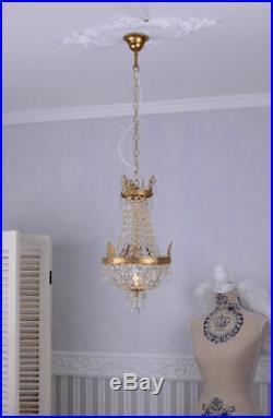 Lustre plafonnier pampilles cristal Napoléon montgolfière laiton massiv venitien