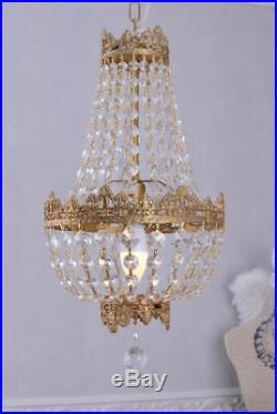 Lustre verre cristal pampilles plaffoniere montgolfiere laiton venitien murano