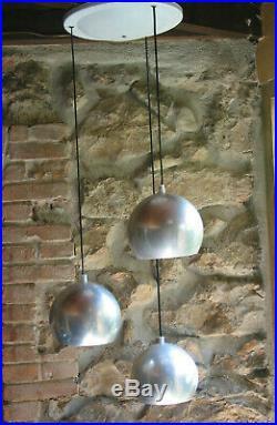 Lustre vintage VERNER PANTHON POUR LOUIS POULSEN 3 BOULES EN CASCADE signé lo+++