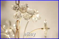 Lustre vintage métal doré et pampilles fleurs de verre Italie années 60