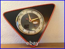 MAGNIFIQUE Horloge pendule TRIANGULAIRE VEDETTE FORMICA VINTAGE 50 60's 70's