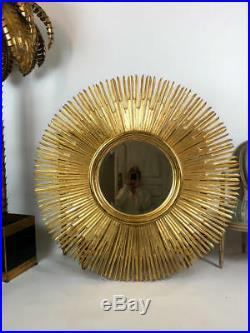 MIROIR SOLEIL (grand modele 125 cm de diametre) EN BOIS DORÉ D ACAJOU ANNEE 70