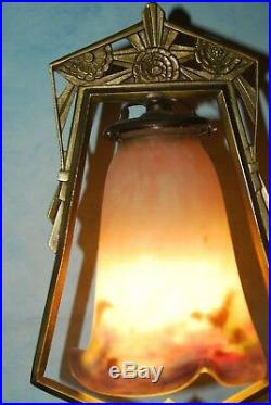 MULLER FRERES LUNEVILLE LAMPE ART DECO BRONZE + PATE de VERRE! (GALLE)