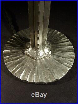 M. Vasseur Lampe Art Déco En Fer Forge Et Tulipe En Verre Nuagé Schneider 1930