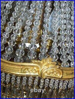 Magnifique Ancien Grand Lustre Montgolfière Bronze Pampilles Verre H68cms Top+++