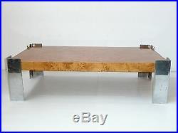 Magnifique Table Basse Loupe D'orme & Chrome 1960/ 1970 Vintage A Restaurer