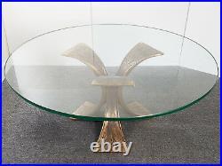 Magnifique Table Basse Ronde Bronze Massif & Verre Securit 1970 Vintage 70's