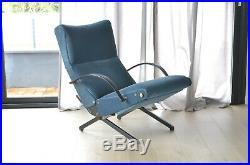 Magnifique fauteuil P40 d'Osvaldo Borsani pour TECNO velours bleu
