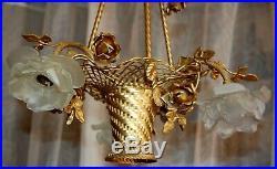 Magnifique lustre panier en bronze tulipe pate de verre, plafonnier, chandelier
