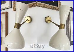 Magnifique paire d'appliques de design 50's Stilnovo style wall sconces