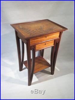 Majorelle Nancy Ancienne Petite Table Art Nouveau 1920 Acajou Decor Fougeres