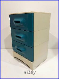 Meuble Chiffonnier Bleu Prisunic En bon état Vintage An 70's ²²