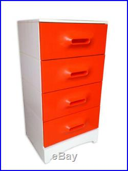 Meuble Chiffonnier Orange Prisunic En bon état Vintage An 70's ²²