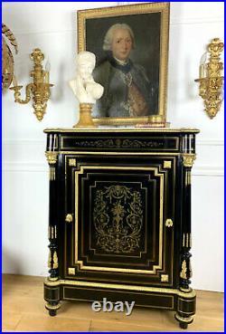Meuble D Appui Napoleon III En Bois Noirci Orné De Bronze A Filets De Laiton