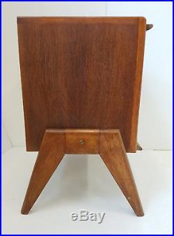 Meuble D'appoint Table De Chevet 1950 En Chene Vintage Pieds Compas 50s 50's